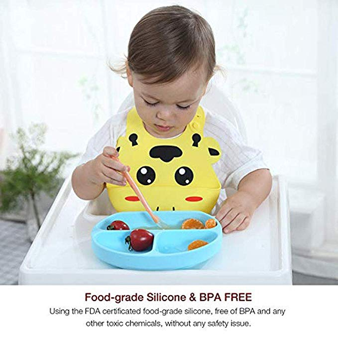 Custom Printing Pattern Soft Silicone Baby Bib with Food Catcher