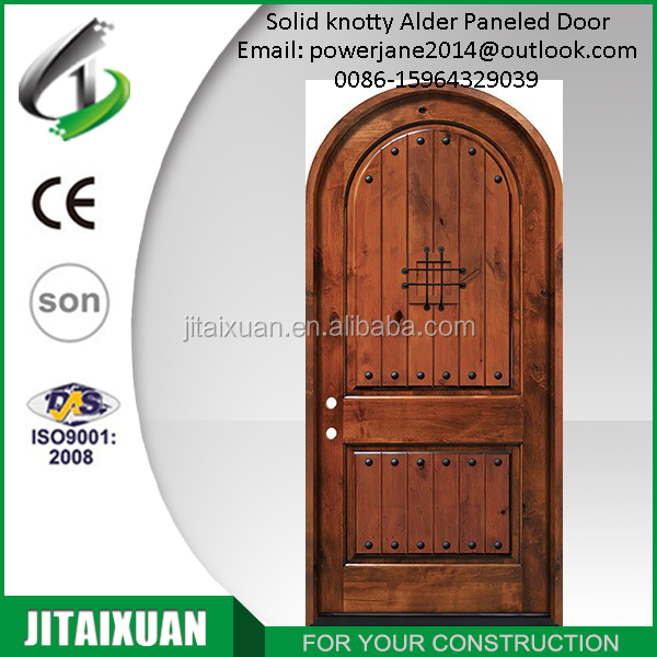 Internal solid knotty alder 2 panel door Top Round Arch with speakeasy entry door