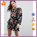 OEM long sleeve flower pattern fancy dress,night dress for sex women