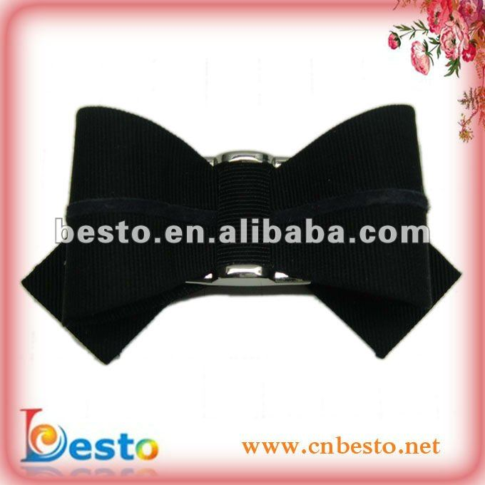 Fashion high heel bows shoe flower made of black ribbon for fashion sandal decorations SF0255B1