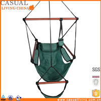 Outdoor Air Deluxe Sky Swing Hammock Chair Hanging Rope Chair with Pillow Armrest Footrest and Drink Holder