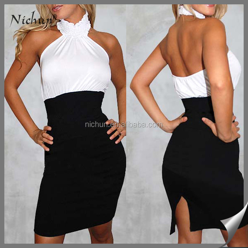 Halter Top sexy wholesale white with black knftan dress