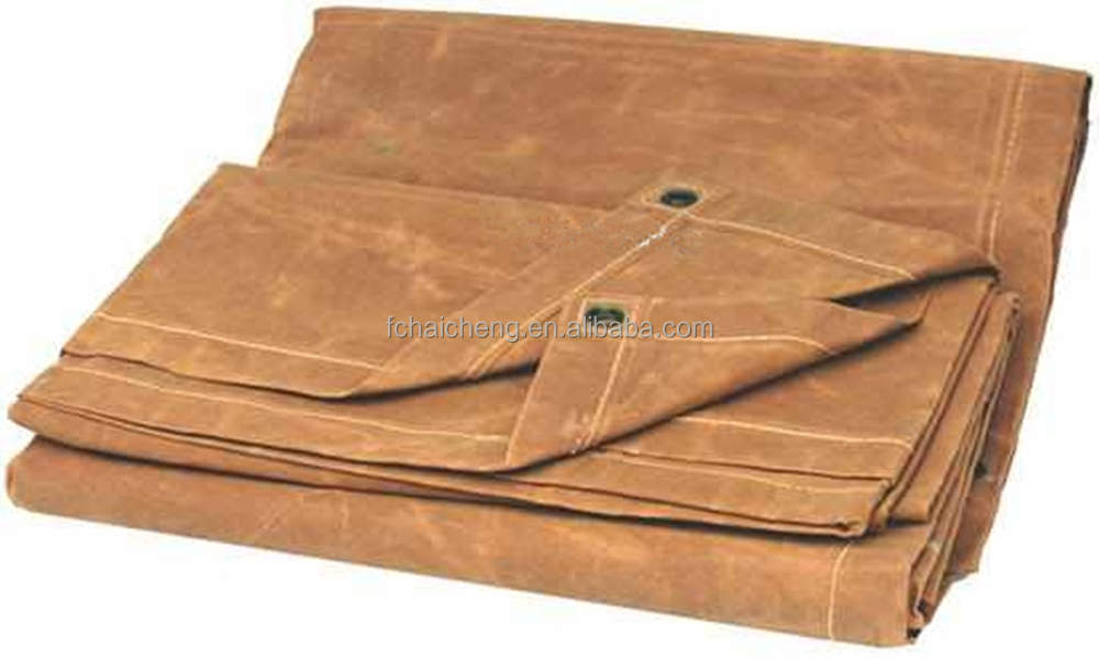 Breathable tan canvas tarps made of industrial grade durable cotton
