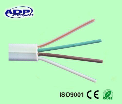 Flat Telephone cable 4core BC/CCA/CCS white PVC