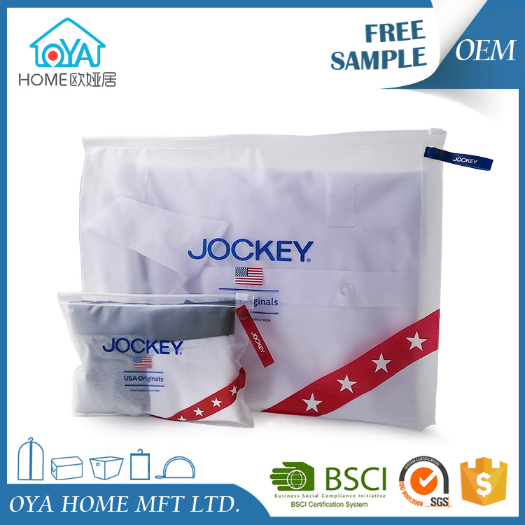 Brand custom logo printed durable clothing plastic packaging bag with ziplock