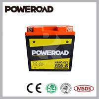 Poweroad Nano Gel Sealed Maintenance Free Battery for Motorcycles/ATVs/Scooters YG9-BS