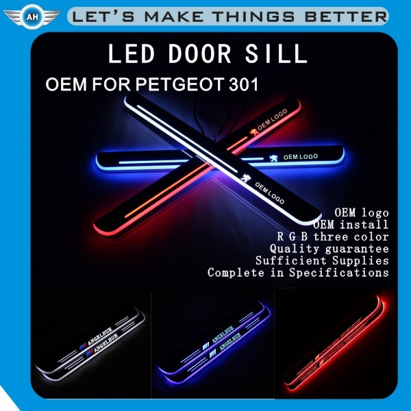 LED stainless Auto Accessories /car welcome LED pedal sill plate/ scuff plate/LED Door sill for P E U G E OT 301