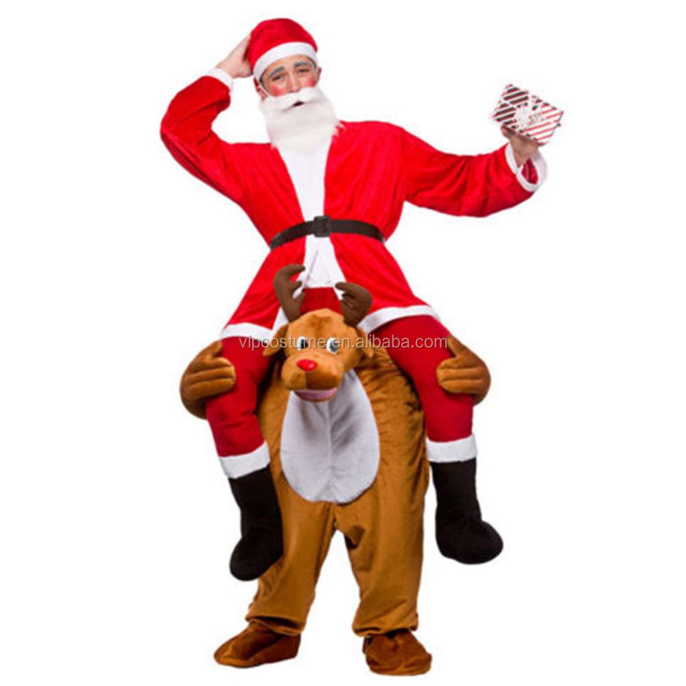 renos de navidad piggy back paseo en traje de la mascota traje adulto del vestido de