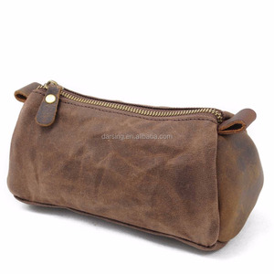 Wholesale custom plain blank waxed canvas cosmetic bag with zipper