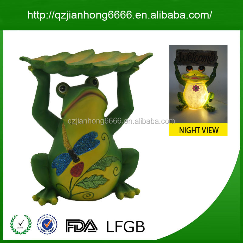 Polyresin Frog Solar Light Welcome Stake Decorative Craft Models Home & Garden