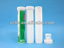 White effervescent tablets tube, desiccant tube 29mm diameter