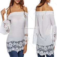 MIKA72062 White Off The Shoulder See-Through Floral Elegant Lace Tops Blouses