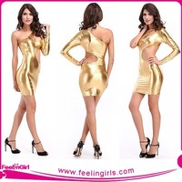 Wet Look Gold Faux Leather Club Celebrity Bandage Bodycon Dress Wholesale