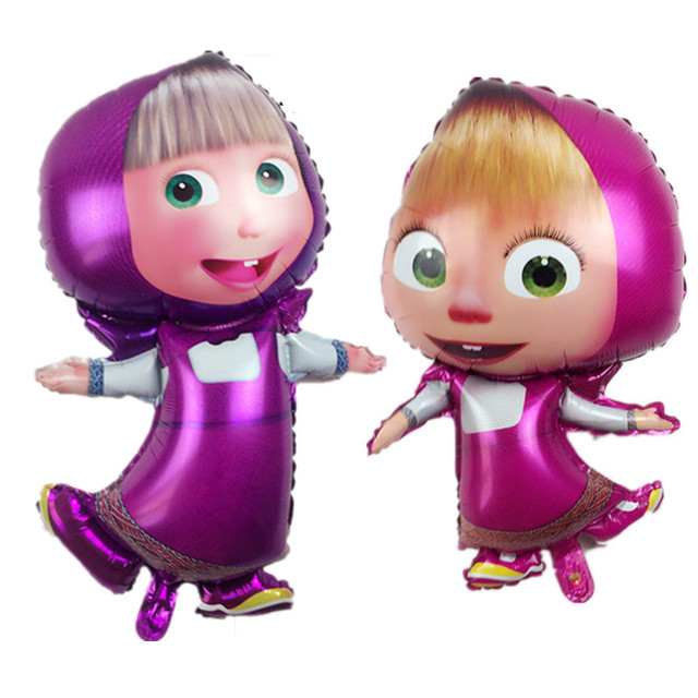 36inch Masha and bear party air balls Cartoon character Foil Balloon birthday Party decorations kids toys Supplies