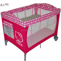 Luxury folding outdoor large playpen for babies, portable aluminum baby travel cot ,foldable crib for baby