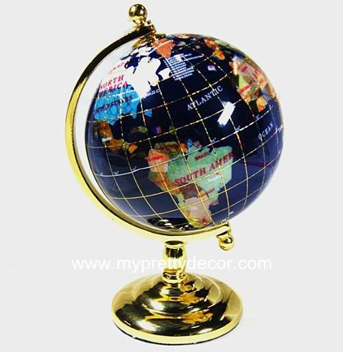 90mm desktop gemstone globes rotating world globe