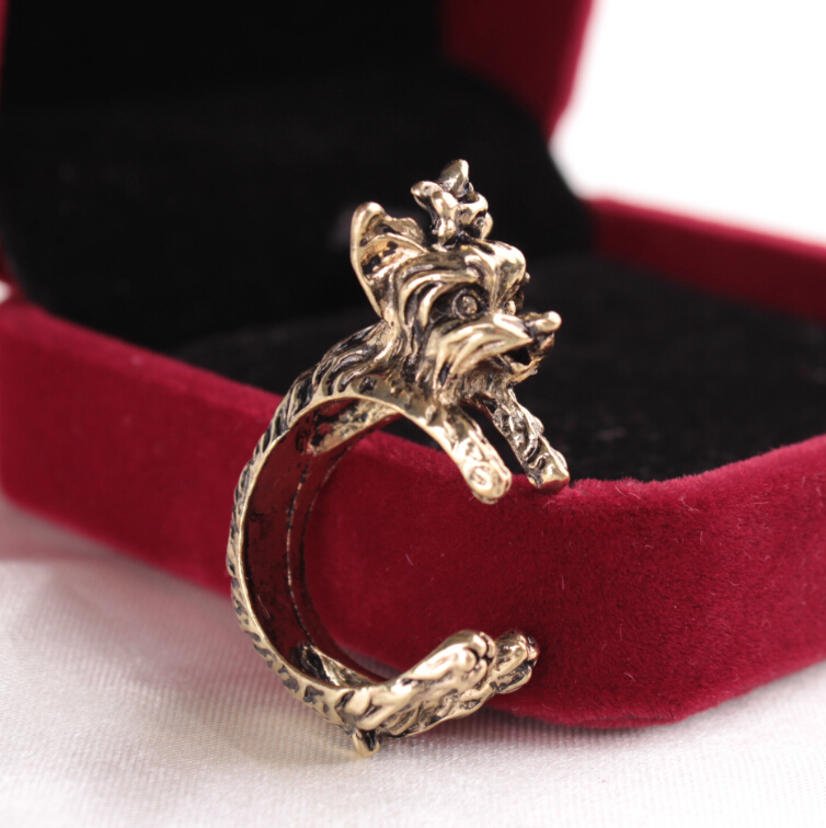 newest fashion jewelry retro punk style dog animal ajustable floating finger rings for boys