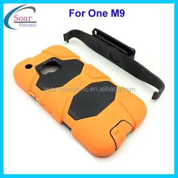 For HTC One M9 rugged case,stand hybrid case for HTC One M9 with clip belt