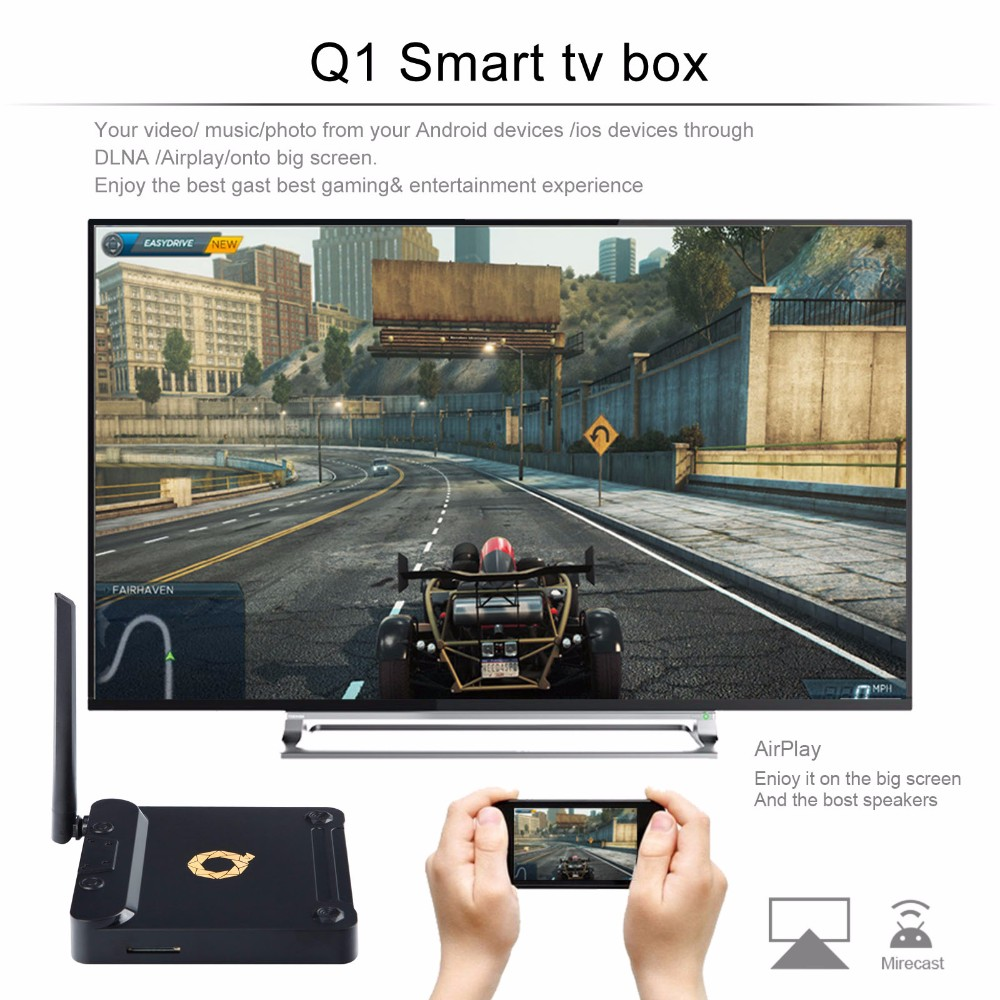 Android TV Box Kodi Loaded 4K S912 Octa Core 2G 16G Smart Google Android TV Box q1