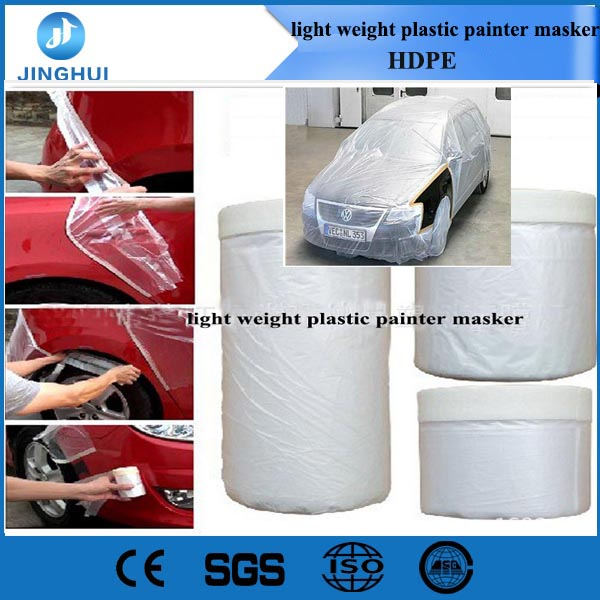 Paint plastic masking film/light weight plastic painter masker for car/floor/decoration/painting HDPE plastic roll