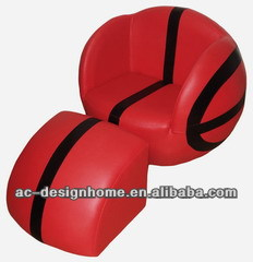 RED/BLACK BASKETBALL PVC/WOODEN KID ONE SEAT SOFA