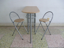Couple MDF steel breakfast dining table/french dining table and folding chairs