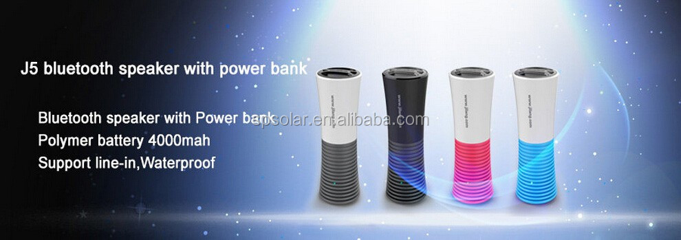 Promotional Bluetooth speaker with USB travel charger 4000mah lighting tower design with gift box