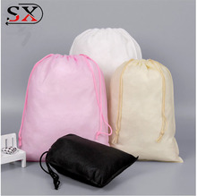 Custom wholesale promotional non woven drawstring shoe bag travel visible shoe dust drawstring pouch