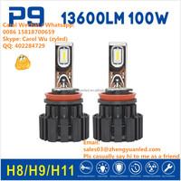 Absolutely TOP 1 Bright ZY P9 100W 13600lm pk 10000 lumen 100 watt hid xenon kit light led bulbs car h4 h7 bulb P6 led headlight