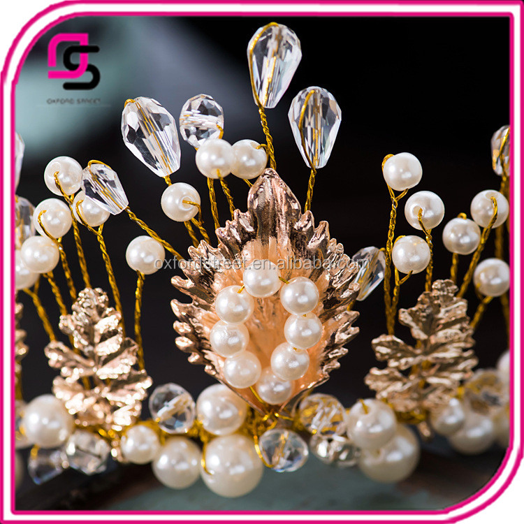 The bride European crown Baroque pearls and diamond ornaments Manual headdress