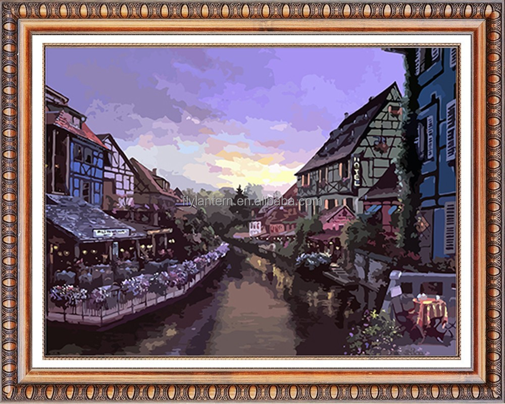 sunset in the town 3d diy diamond painting by number