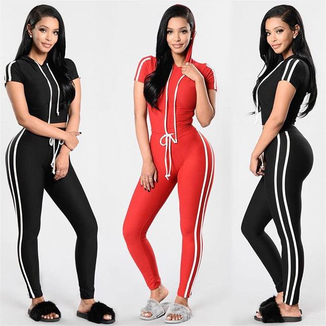 Wholesale Plus Size V Neck Sport Suit Women Hoodies Striped Tracksuit Cotton Tracksuit