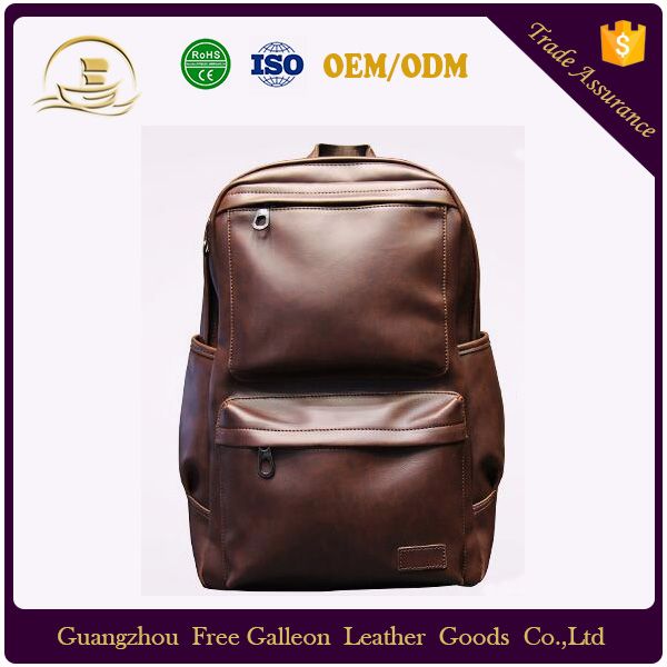 Korean men's casual shoulder leather PU bag of middle school students travel outdoor backpack computer laptop bags