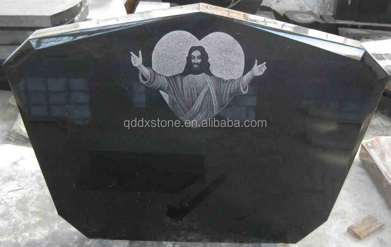Shanxi Black Granite Heart Shaped Headstones with Flower Bird