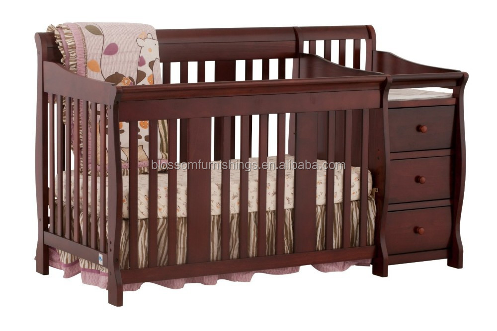 Luxury and Upscale Wooden Baby Cots Beds with Change Table