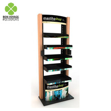 POS retail shop customized cosmetic display wooden rack 5 <strong>shelves</strong>