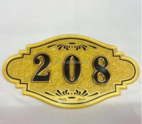 2016 new design golden acrylic hotel room door number sign
