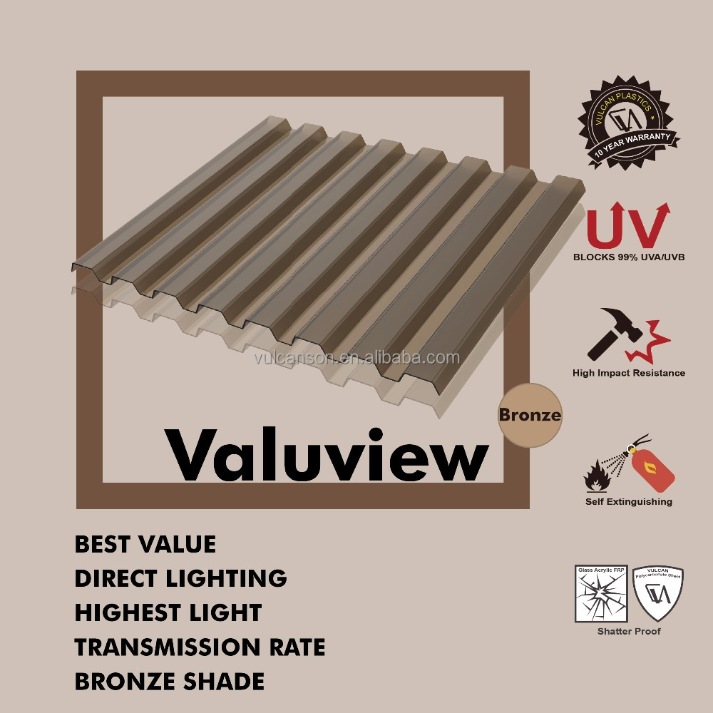 Transparent Polycarbonate Corrugated Bronze Roofing Sheet (Valuview Bronze GRECA)