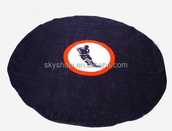 Customized logo printed round towel beach