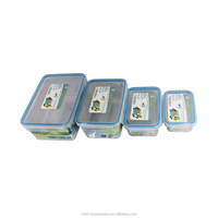 pp wholesale food grade 1L plastic eco friendly 4 side locked heat resistant lunch box with lock