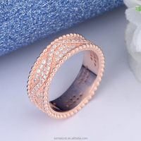 High End Clear Crystal Jewelry Rhinestone Accessory Fashion Wedding Rose Gold Diamond Ring