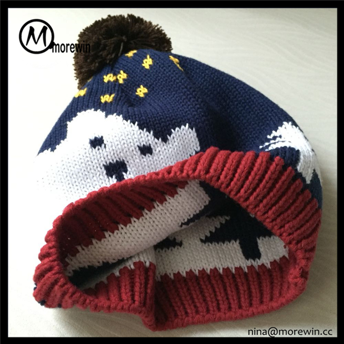Morewin brand cute animal pattern winter knitted hats custom beanie hats with pompom