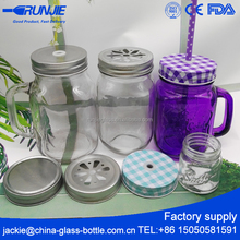 Runjiee Factory Direct Sale mini glass mason jar, custom small mason jar with lids,wholesale embossed mason jar with handle