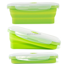 Set of 4 Square Silicone Food Storage Contain Airtight Collapsible silicone food box foldable container food storage box