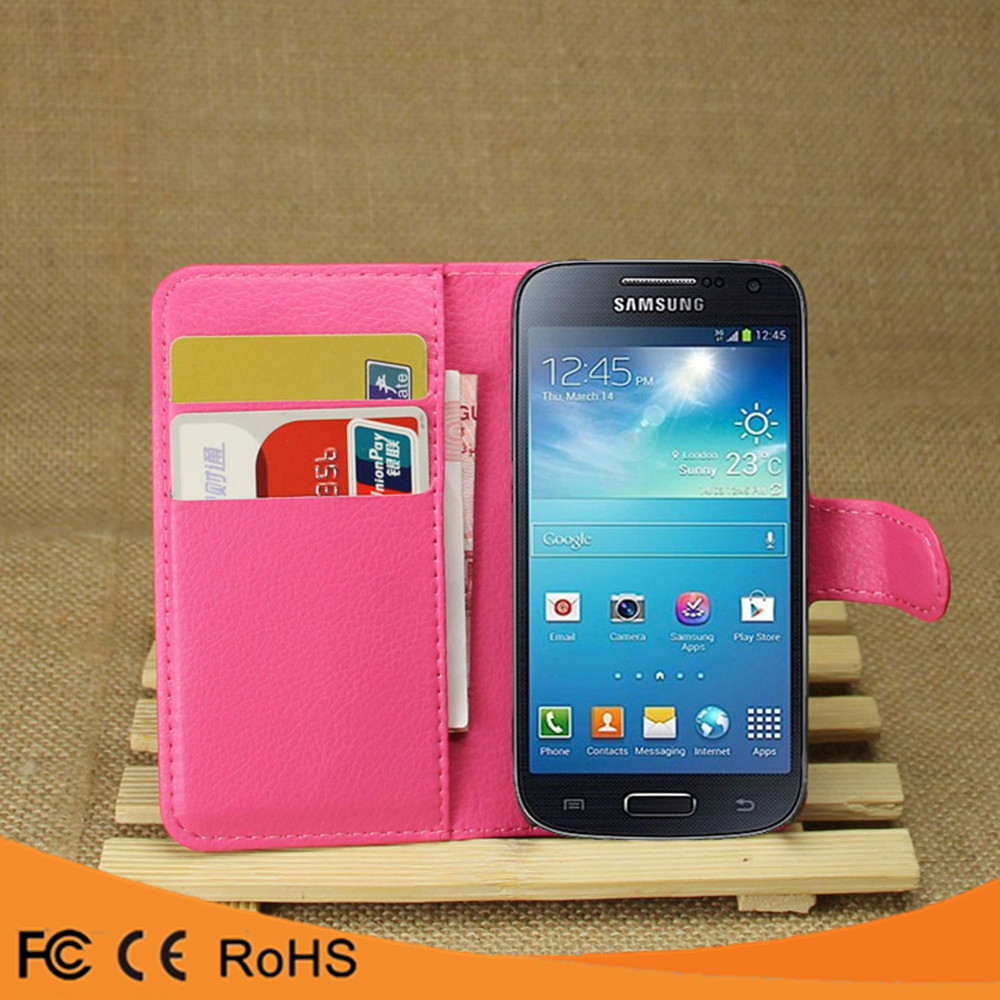 Hot selling leather flip PU case back cover case For Samsung Galaxy s4 mini