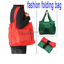 Roll up 190T polyester folding tote shopping bag