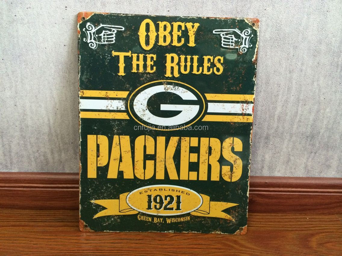 Wholesale customized tin sign, vintage team logo embossed metal plaque tin sign