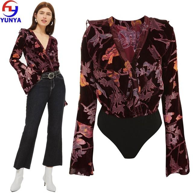 Chinese factory womens autumn fashion long sleeve one piece burnout velvet bodysuit tops