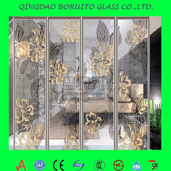 High quality silk screen printed laminated glass,glass wall