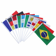 OEM Advertising Country Flag 14*21cm Hand Held Flag With Plastic Or Wooden Pole